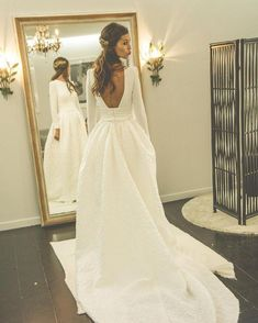 ABSOLUTELY LOVE for winter wedding! Long Sleeve Wedding Dress New Long Sleeve Backless Wedding Dresses,A-line Scoop Neck Bridal Gowns,Satin Court Train Wedding Dress,Appliques Lace Bridal Dresses Long Sleeve Wedding, Wedding Dress Sleeves, Dream Wedding Dresses, Winter Wedding Dresses, Wedding Dressses, Dress Winter, Winter Weddings, Wedding Dress Removable Skirt, Wedding Sundress