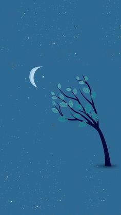 Talking to the moon Wallpaper Dekstop, Screen Wallpaper, Mobile Wallpaper, Wallpaper Backgrounds, Iphone Wallpaper, Landscape Illustration, Illustration Art, Cute Blue Wallpaper, Monochromatic Art