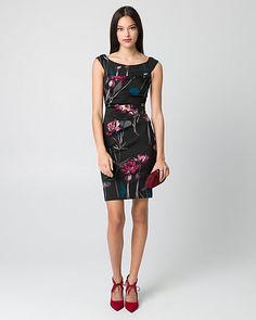 Floral Knit Crêpe Off-the-Shoulder Dress - A dark floral print lends romantic appeal to a chic crêpe dress, while criss-cross bands define its feminine off-the-shoulder neckline.