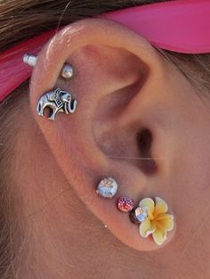 Elephant & flower cartilage piercing earrings #cartilage #piercing #earrings www.loveitsomuch.com