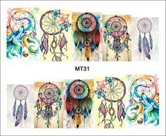 1 시트 네일 MT31 전체 커버 컬러 드림 포수 팝 네일 예술 물 전송 스티커 데칼 네일 아트 문신 DIY 네일 도구