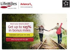 Avianca LifeMiles bonus extended - Get up to 125% bonus miles - http://www.mightytravels.com/2016/05/avianca-lifemiles-bonus-extended-get-up-to-125-bonus-miles/