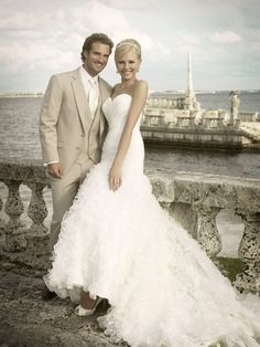 The tan suit is perfect for a destination, laid back wedding