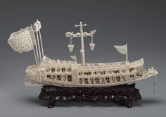 象牙船 (14), Art Ivory boat.