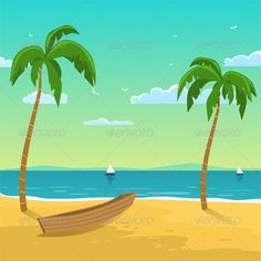 Seascape with boat on the beach with palms, season background.