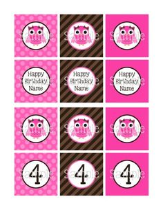 """Printable Girly Owl Brown & Pink 2.25"""" Square Cupcake Toppers 