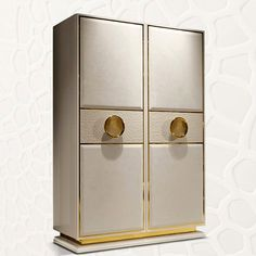 LEATHER UPHOLSTERED TALL CABINET - LEATHER COCKTAIL CABINET WITH GOLD METAL DETAILING
