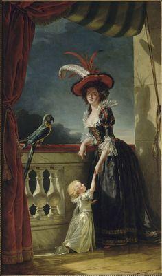 Louise-Elisabeth de France, duchesse de Parme (1727-1759). 1788. L'harmonie des tons, la délicatesse d'exécution, et l'amour pour une description minutieuse des textures (de la soie des robes, en passant par la dentelle de l'encolure et des manches, jusqu'aux plumes du chapeau et du perroquet perché sur la balustrade) rendent ce portrait absolument admirable. Adélaïde Labille-Guiard livre cependant ici un portrait posthume de la duchesse de Parme, décédée près de trente ans auparavant. J.T.