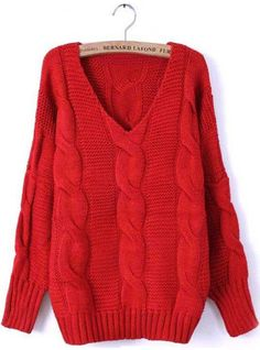 Red Batwing Long Sleeve Diaper Loose Sweater