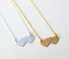 Double Heart Necklace-is it meant to be...they have my initials on one and JK on the other :) for my hubby and I