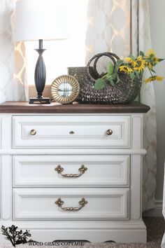 Bedroom Night Stand Makeover - top is stained with Minwax Provincial, body of dresser is Maison Blanche Mushroom, sandpaper to distress lightly and then used clear wax to finish and seal the dresser.