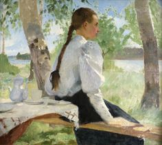 "huariqueje: "" Young Girl Under the Birch Trees - Helene Schjerfbeck , 1891 Finnish, 1862 – oil on canvas "" Helene Schjerfbeck, Painting Of Girl, Paintings I Love, Portraits, Portrait Art, Russian Painting, Scandinavian Art, Art Music, Female Art"