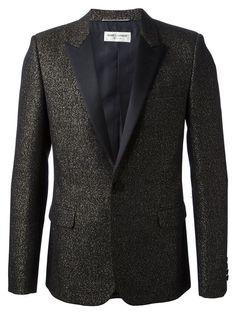 Saint Laurent contrasting lapel metallic jacket