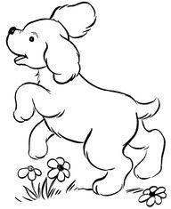 Cute puppy playing - Dog Coloring page