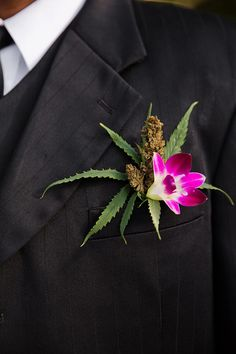 LOVE this groom and groomsmen alternative boutonniere with pink flowers and legal cannabis! Cannabis, Weed, Dream Wedding, Our Wedding, Pagan Wedding, Wedding Wows, Wedding Stuff, Destination Wedding Jamaica, Jamaican Wedding