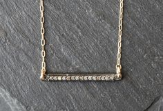 Pave Diamond Bar Necklace -- Alexis Russell