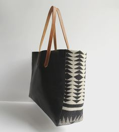 Walking Rock Wool & Leather Tote Bag | Looking for a black leather tote with a little something extra... | Tote Handbags