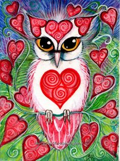 owl and hearts by Sheridon Rayment thoughtsnlife.com