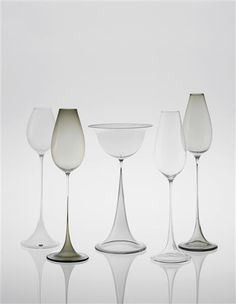 PHILLIPS : UK050113, NILS LANDBERG, Group of five glasses, from the Tulip series