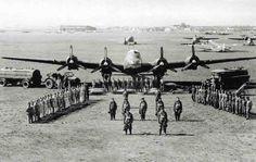 An Italian Piaggio P.108B heavy bomber and its crew