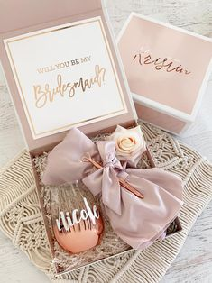 Pink Bridesmaid Proposal Boxes Ask Will you be my Bridesmaids with a pretty gift box you can fill on your with cute things like robes, pens, stemless glasses and more! Asking Bridesmaids, Bridesmaid Gift Boxes, Bridesmaid Proposal Gifts, Wedding Gifts For Bridesmaids, Gifts For Wedding Party, Party Gifts, Diy Wedding, Bridesmaid Makeup, Will You Be My Bridesmaid Gifts