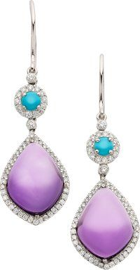 Amethyst, Turquoise, Diamond, White Gold Earrings, Eli Frei ... (Total: 2)