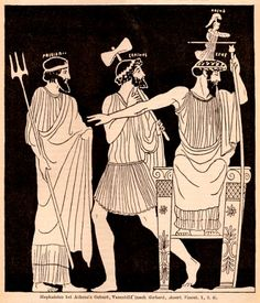 The birth of Athena from Zeus's head, from a vase painting.