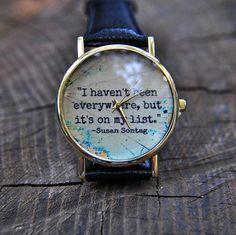 Grey Quotes Watch  World map Watch  Travel watch  by AyoBijou