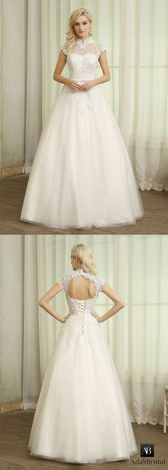 Romantic tulle high collar neckline a-line wedding dresses. The dress has no train that makes you easy to move. (WWD98825) - Adasbridal.com
