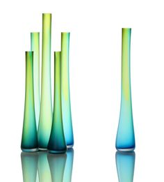 The Tubes Series vase series by Eva Milinkovic and Kriston Gene; olive and aqua