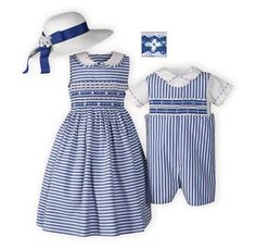 84039ce5e99 Royal Stripes Hand Smocked Brother Sister Outfits Cute Girl Dresses
