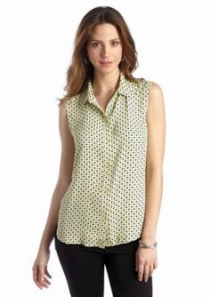 Jones New York Collection  Collared Sleeveless Printed Blouse