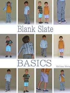 "An eBook in PDF format that includes 5 basic patterns for boys. My goal with this set of patterns is to give those who sew for boys a set of ""Blank Slates"" - the things boys wear all the time - so that you don't have to worry about drafting patterns, you can skip right to expressing creativity through fabric choice, embellishment and detail. All patterns are in sizes 18m-8."