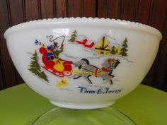 Vintage McKee Milk Glass Tom and Jerrys Punchbowl by peacenluv72, $44.50
