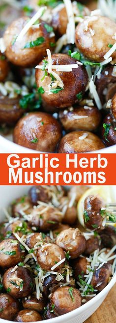 """Garlic Herb Sauteed Mushrooms – best and easiest mushroom recipe that takes only 10 mins. Saute the mushrooms with olive oil, garlic, parsley, and top with Parmesan cheese Side Dish Recipes, Vegetable Recipes, Vegetarian Recipes, Dinner Recipes, Cooking Recipes, Healthy Recipes, Tapas, Easy Mushroom Recipes, Sauteed Mushrooms"