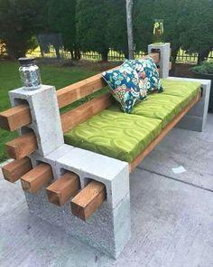 Concrete block bench!