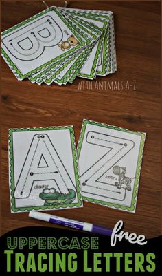 FREE Uppercase Alphabet Cards with Animals from A-Z perfect for helping toddler, preschool, and kindergarten age kids practice tracing letters while having fun alphabet preschool uppercase Preschool Writing, Preschool Letters, Preschool Learning Activities, Free Preschool, Preschool Printables, Learning Letters, Toddler Learning, Preschool Classroom, Early Learning