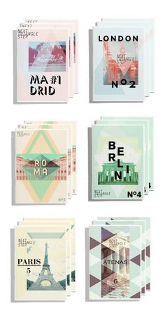Travel guide covers for Next Triangle Step designed by Sonia Castillo
