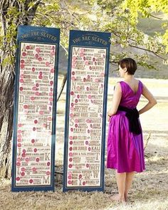 Nice way to use a variety of typography for a wedding seating chart.  Another alternative to chalkboards.  wedding decor