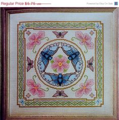 ON SALE Al Hannen BUTTERFLIES with Cherry Blossoms Pillow or Picture  - Counted Cross Stitch Pattern Chart - fam