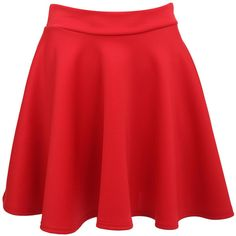 ELLIE SCUBA SKATER SKIRT IN RED ($15) ❤ liked on Polyvore featuring skirts, bottoms, saia, flare skirt, red flared skirt, circle skirt, red skirt and flared skirt
