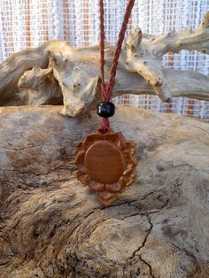Lotus. Olive wood necklace by ValleyWWKing on Etsy