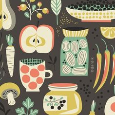 Helen Dardik. fabric for kitchen materials; so retro and cute, maybe for a tea towel or a recipe book cover? (KLH) // lookingfordawn.com