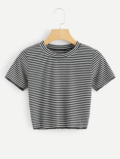 16f03acf5ab Stand Neck Striped Crop TeeFor Women-romwe Tee Online
