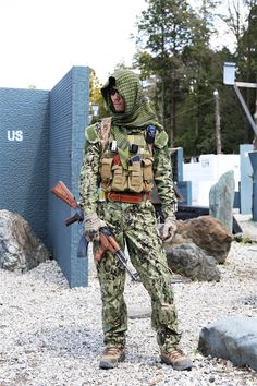 Airsoft Player in Japan. Fashion Photo. AOR2 camo BDU. Military. Gun. Combat