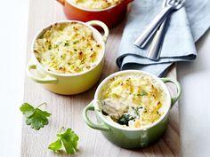 Recept potje piraat: gratin van schelvis met spinazie en gekookt eitje