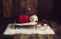 Dark Red Sled Sleigh - Christmas Holiday Prop - Newborn Toddler Child