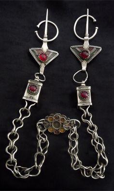Morocco ~ Taroudant, Anti Atlas Mountains   'Tizerzai' ~ fibula pectoral; silver alloy, red glass and enamel   Mid 20th century
