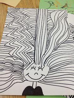 bad hair day line project - 1st http://artipelagoteacher.blogspot.com/2013/01/bad-hair-day.html?m=1: