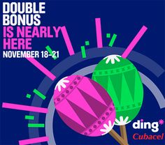 You could be one of 20 winners of a $50 USD free top-up from ding* when you send a top-up during our upcoming #Cubacel X2 Bonus promotion starting Tuesday, November 18th - https://www.ding.com/countries/caribbean/cuba